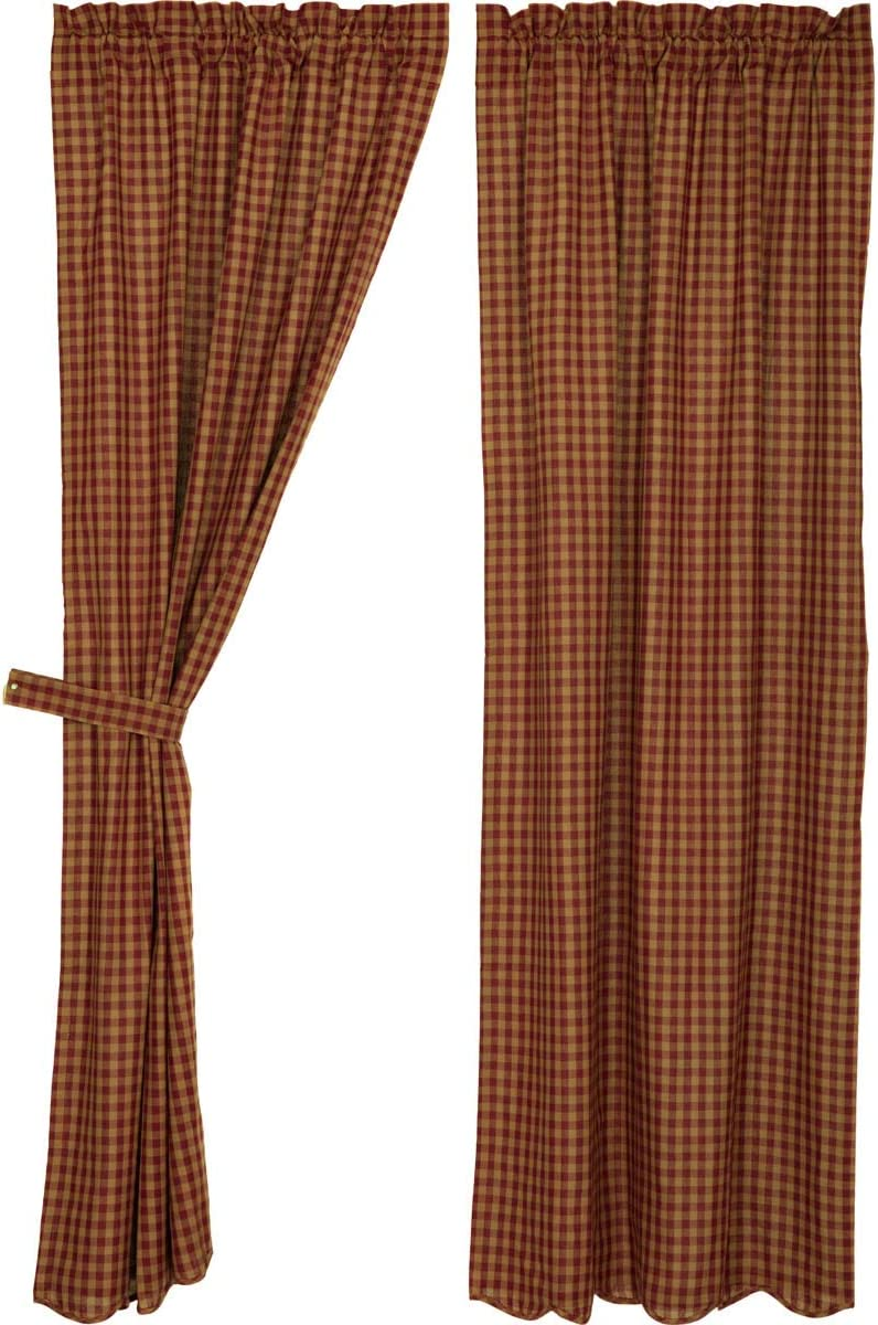 VHC Brands Burgundy Check Scalloped Panel Window Country Set of 2 for Living Dining Room Curtain, Set 84×40, Red