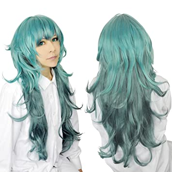 Cf-fashion Tokyo Ghoul Eto Sen Takatsuki Green Long Curly Wavy Wig Cosplay Costume Wig