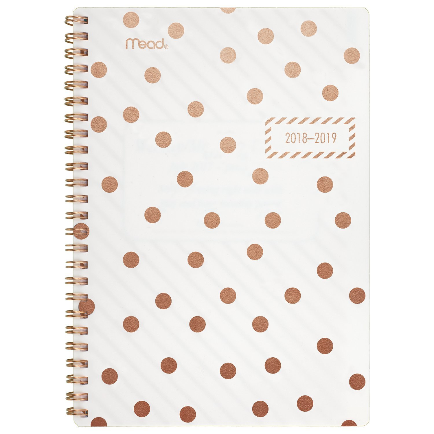 Mead Academic Weekly/Monthly Planner, July 2018 - June 2019, 5-1/2 x 8-1/2, Gold & Bold, Dots (CAW408D1) 5-1/2 x 8-1/2 ACCO Brands CAW408D119
