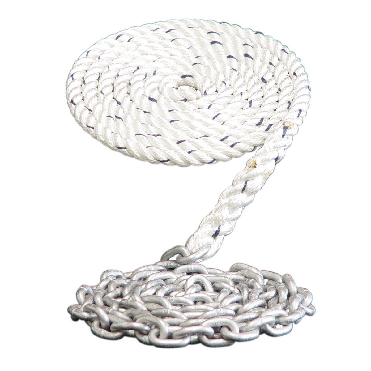 Dark Horse Marine Windlass Anchor Rode 400 9//16 3 Strand Nylon Spliced to 15-5//16 Galvanized Chain