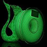 AMOLEN PLA 3D Printer Filament, 1.75mm, Shiny Glow in The Dark Green 1 kg Spool