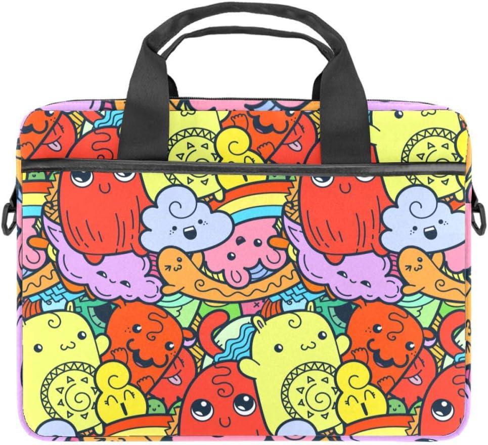 Cute-Dolls Laptop Case Canvas Pattern Briefcase Sleeve Laptop Shoulder Messenger Bag Case Sleeve for 13.4-14.5 inch Apple MacBook Laptop Briefcase