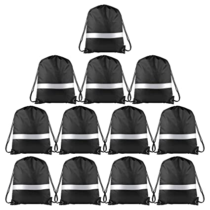KUUQA 12 Pack Drawstring Backpack Bag with Reflective Strip, String Backpack Bulk Cinch Sack Tote Bags for School Yoga Sport Gym Traveling (Black)