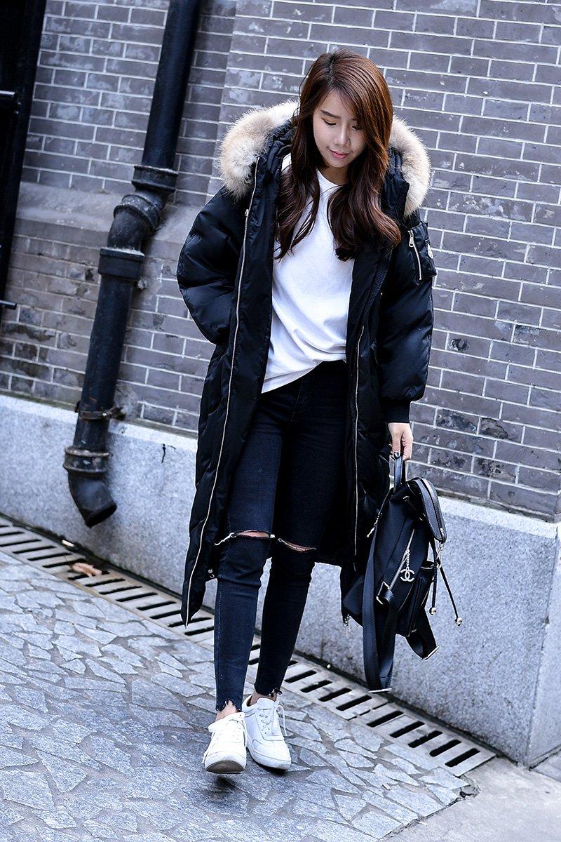 Generic [2018] rctic genuine raccoon fur down jacket Girls Korean long section thick coat was thin for women girl