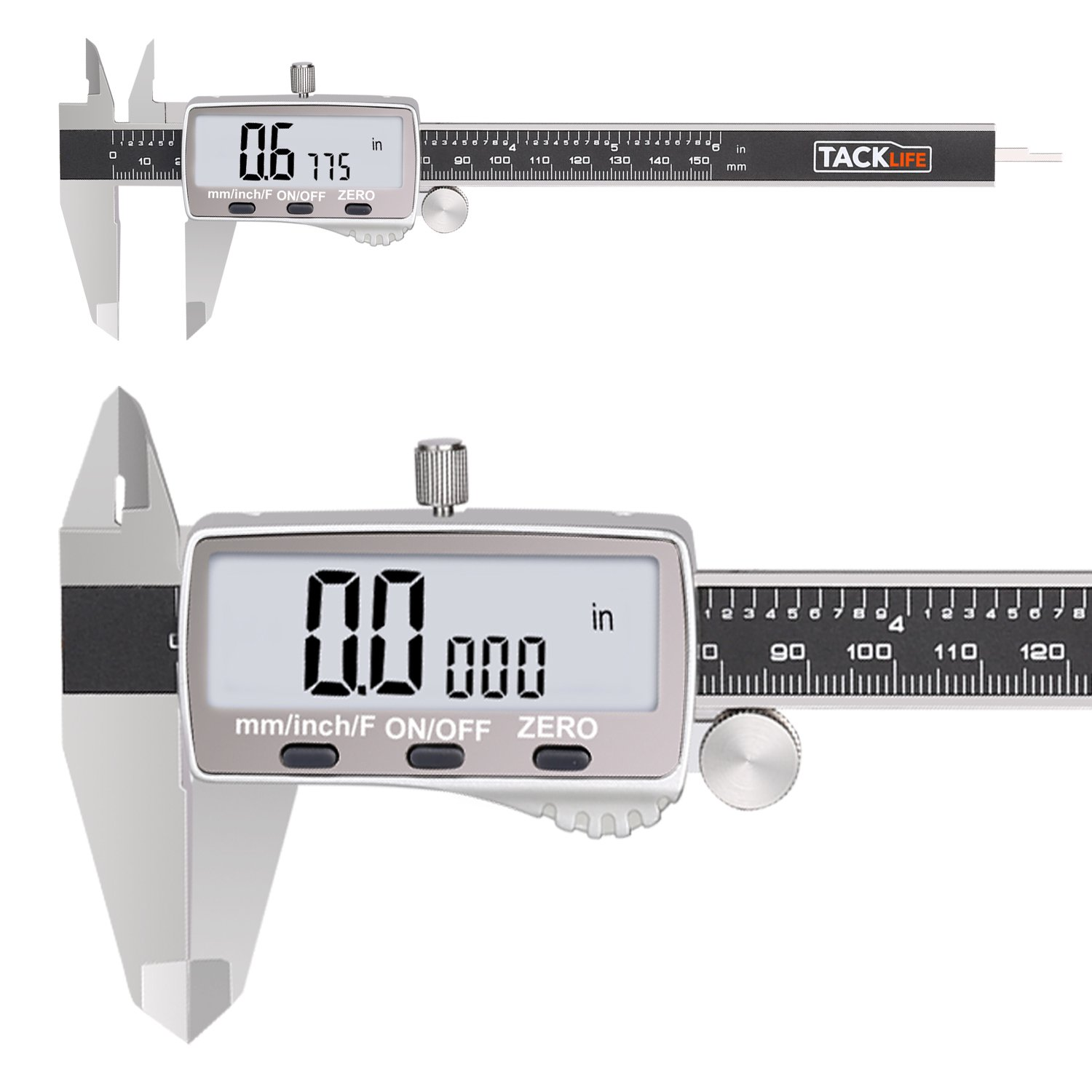 Tacklife DC02 Digital Caliper Stainless Steel Caliper 0-6 Inch/150mm with Extra Large Display, Auto off Featured Inch/Fractions/Millimeter Conversion, High Accuracy Measuring Tool