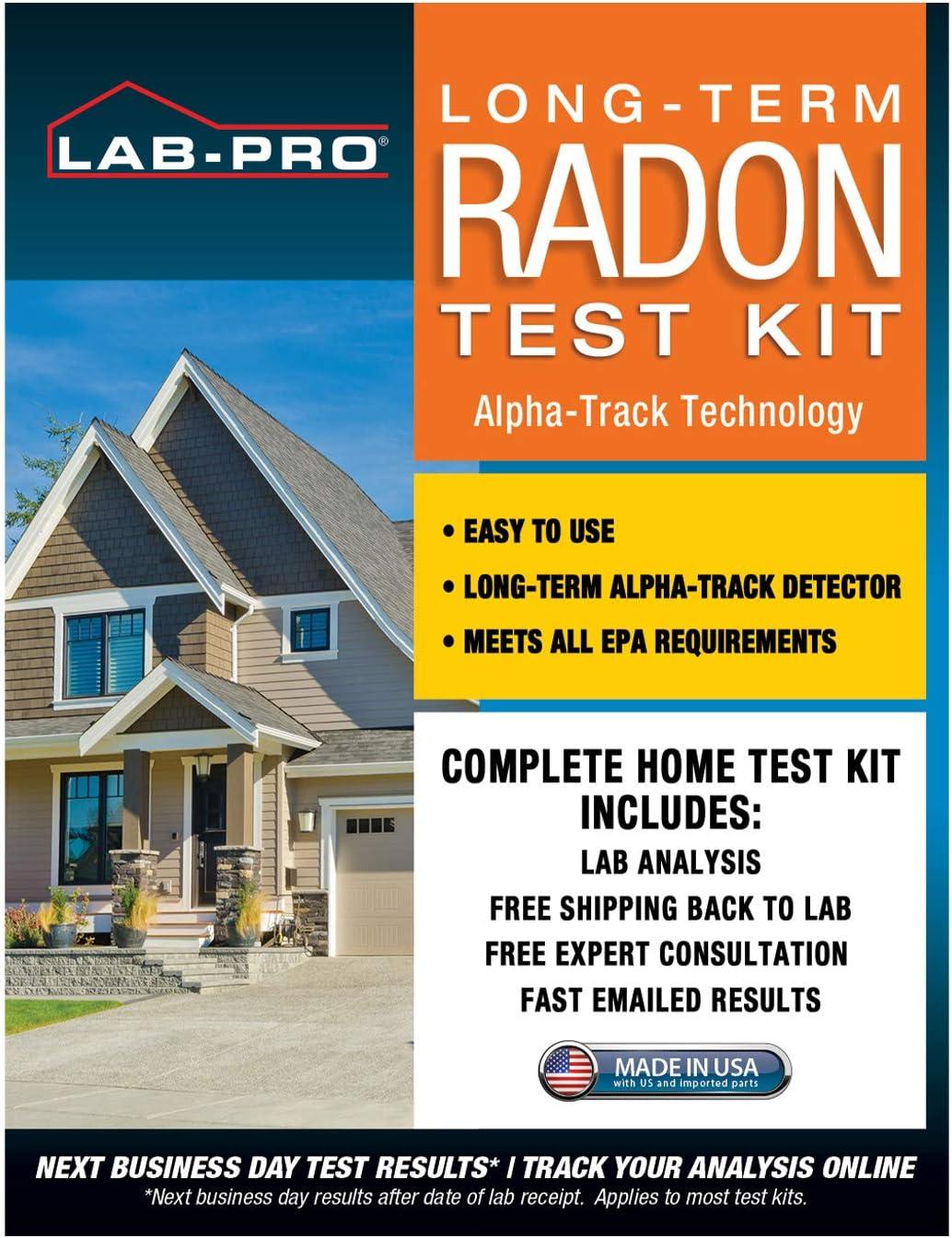 LABPRO Long Tern Radon Gas Test Kit - Includes 1 EPA Approved Radon Gas Detector for Radon Testing, Pre-Paid Return Mailer - Radon Lab Analysis - Emailed Radon Report and Expert Consultation