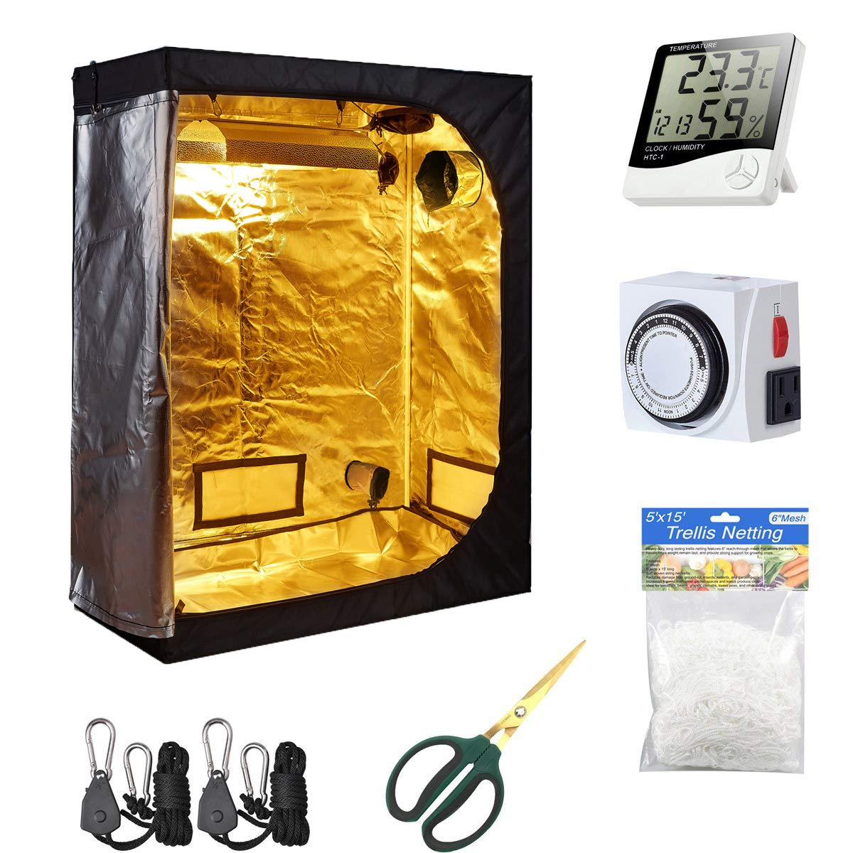TopoLite 48 x24 x60 Grow Tent 1 Pair Light Hangers 1 Pcs Hygrometer Thermometer for Indoor Garden Growing Room Hydroponic System