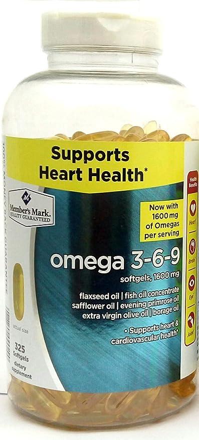 Member S Mark Omega 3 6 9 1600 Mg Dietary Supplement 325 Softgels