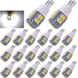 YITAMOTOR 20 x White T10 Wedge 10-SMD LED Light Bulbs W5W 2825 158 192 168 194,12V Car Interior Lighting Map Dome Lamp Trunk Dashboard Parking Lights