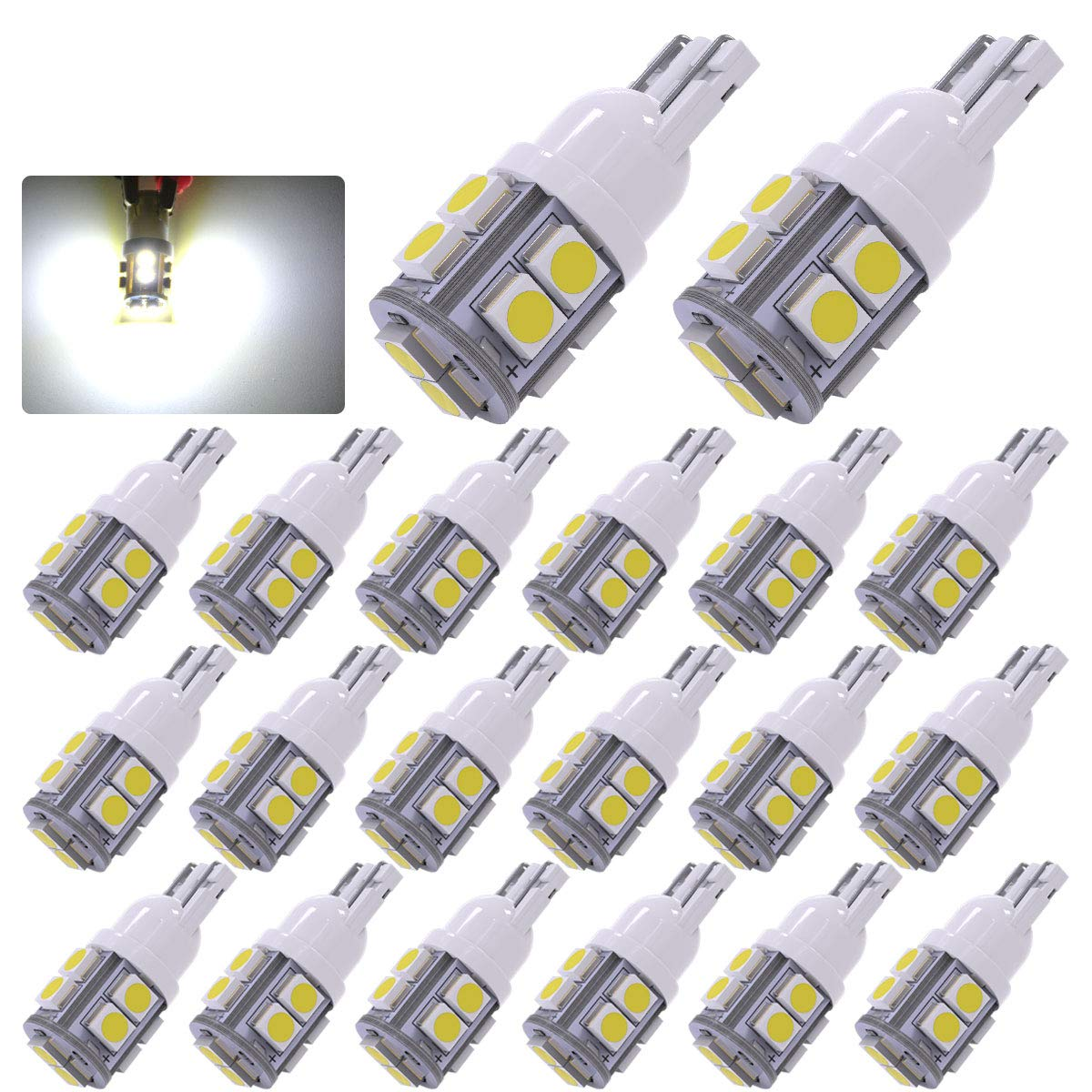 YITAMOTOR 20 x White T10 Wedge 10-SMD LED Light Bulbs W5W 2825 158 192 168 194,12V Car Interior Lighting Map Dome Lamp Trunk Dashboard Parking Lights 20x_10smd