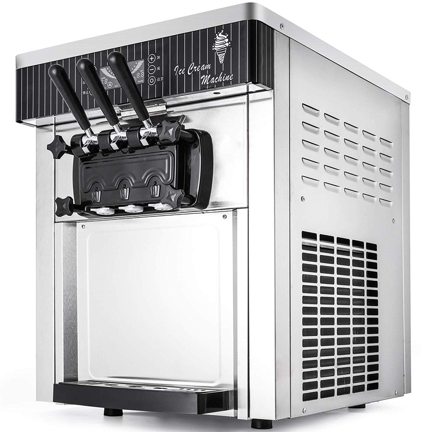 Happybuy 2200W Soft Ice Cream Machine Commercial 5.3-7.4Gallons//H Ice Cream Machine AUTO Clean Function with LCD display Desktop Suitable for Restaurants Bars Cafes Bakeries