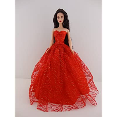 Heavenly Red Ball Gown with Lots of Gold Sparkle Made to Fit Barbie Doll: Toys & Games