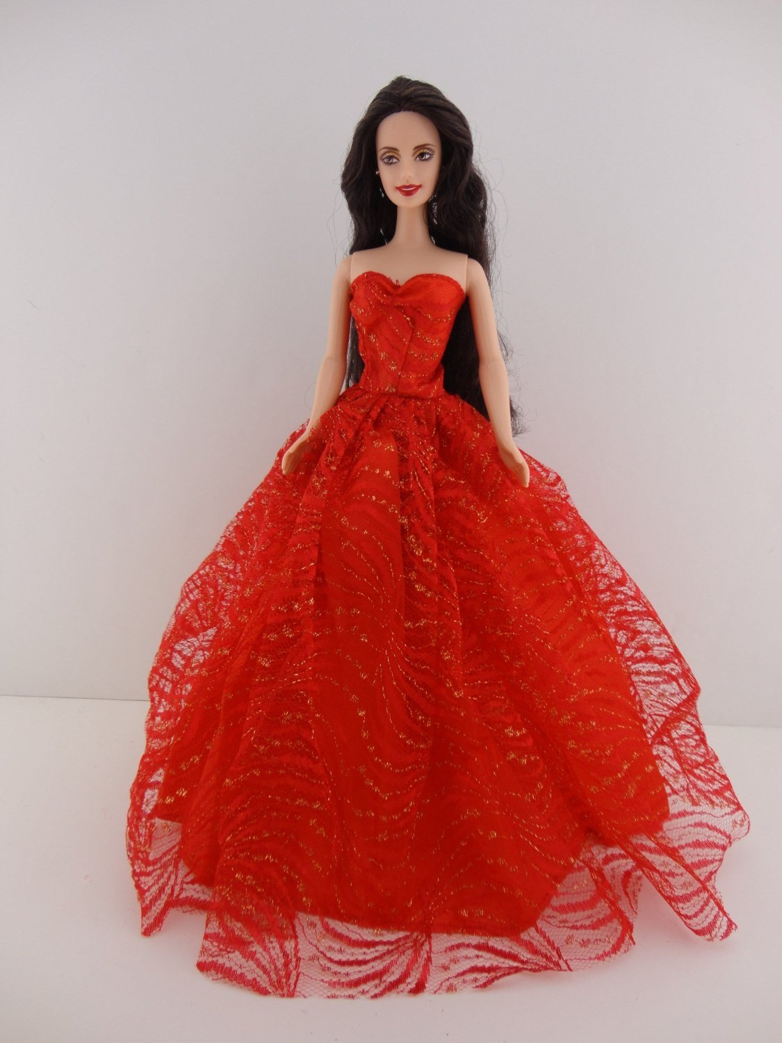 5f9e8e0e57 Heavenly Red Ball Gown with Lots of Gold Sparkle Made to Fit Barbie Doll
