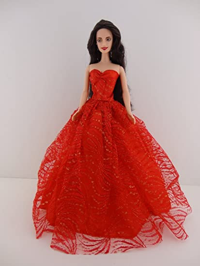 Amazoncom Heavenly Red Ball Gown With Lots Of Gold Sparkle Made To