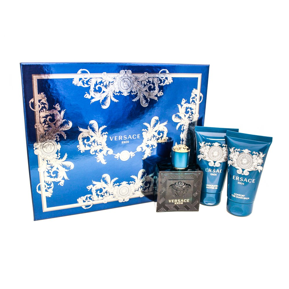 Versace EROS Gift Set for Men 1.7 oz EDT + 1.7 oz Shower Gel + 1.7 oz Aftershave Balm by Versace