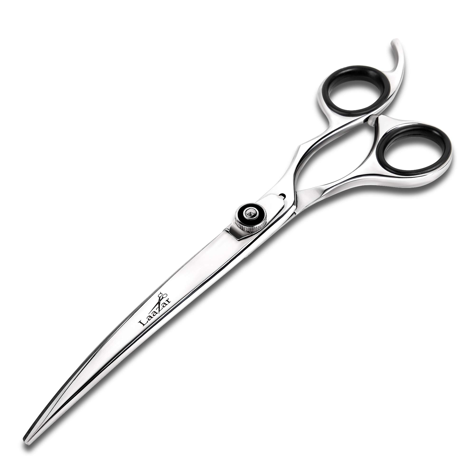 Laazar Professional 7.5 inch Curved Shears for Dogs and Cats | Tension Adjustable Pet Grooming Scissors | 440C Japanese Stainless Steel | Groomers Tool for Men and Woman Leather case Included