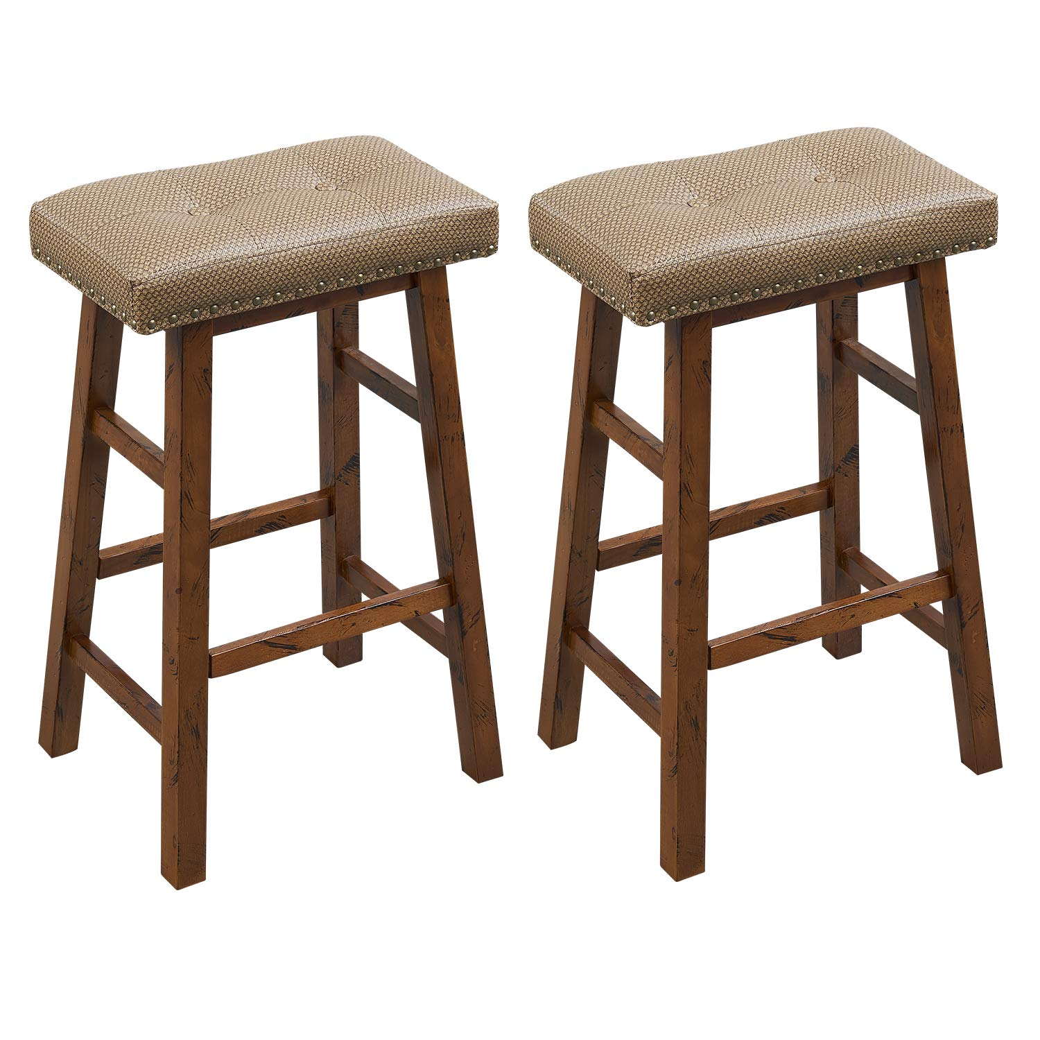 O&K FURNITURE Wood Saddle Bar Stool, Upholstered Backless Bar Stool, Faux Leather BarStools with Brass Nailhead Studs-30'', Bar Height, Pack of 2