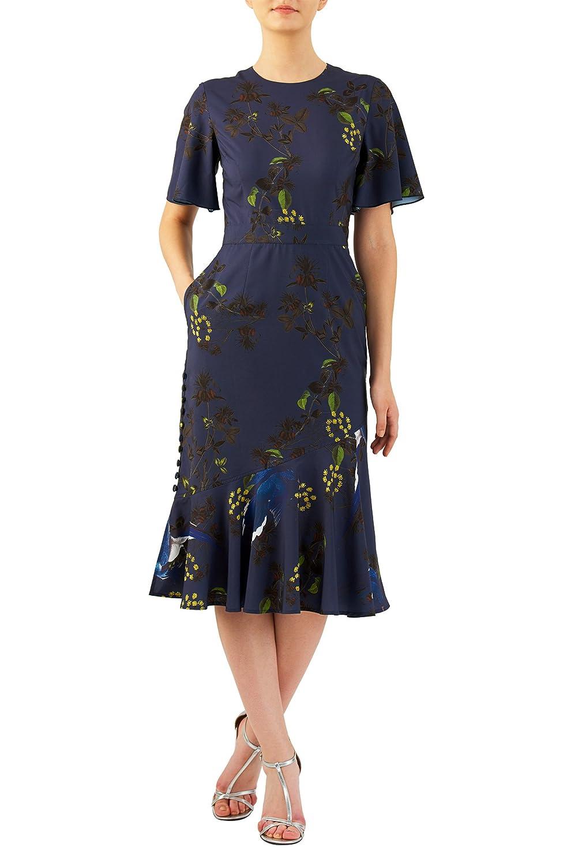 500 Vintage Style Dresses for Sale eShakti Womens Asymmetrical flounce hem botanical print crepe dress $75.95 AT vintagedancer.com
