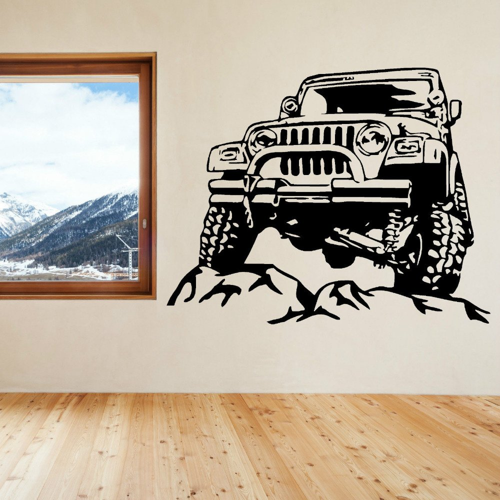 2016 NEW Jeeps Rock Car Racing Vinyl Wall Decal Art Sticker Man Cave Decor Boys Room Decorative Stickers Black Car size 72x57cm