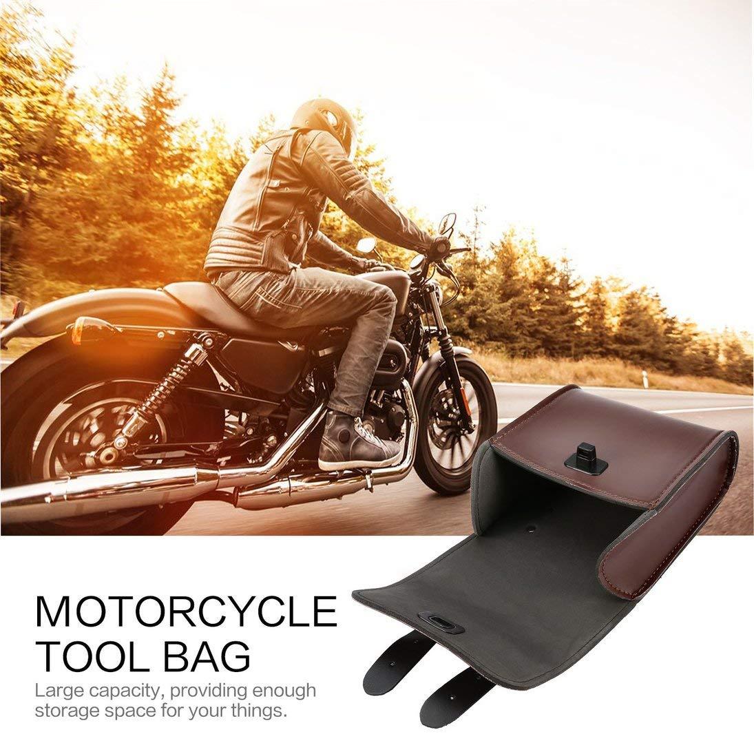 Baynne Handlebar Bag Motorcycle Fork Bag,Bar Bag for Handlebar Tool Bag Luggage Saddle Bag Leather