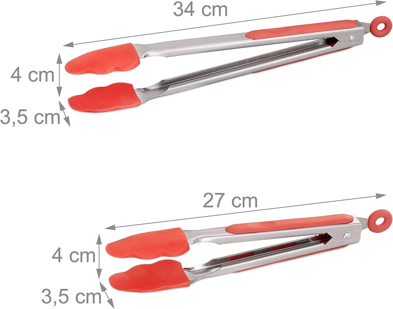 27 /& 34cm Edelstahl kurze /& lange K/üchenzange rot Relaxdays Grillzange Fleischzange K/üche /& Grill 2er Set Silikon