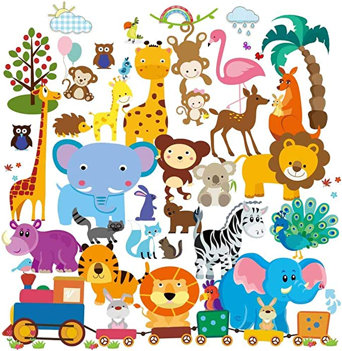 Nature Themed Creature or School Classroom Preschool Animals Wall Stickers Silhouettes for Baby Nursery Child/'s Bedroom or Playroom