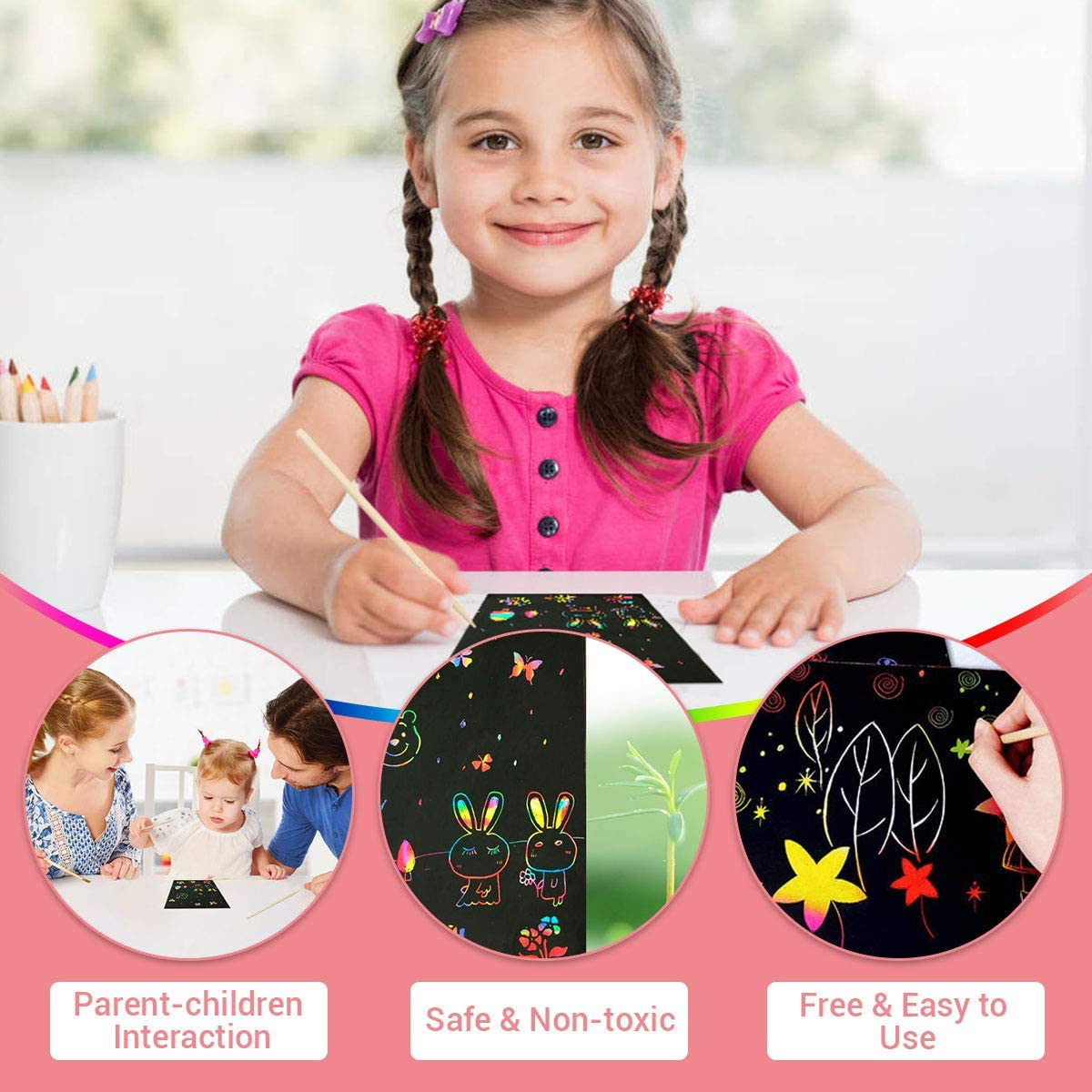 Luclay Scratch Paper Art Set 156 Piece Rainbow Magic Scratch Paper for Kids Black Scratch it Off Art Crafts Notes Boards Sheet with 5 Wooden Stylus for Easter Party Game Christmas Birthday Gift