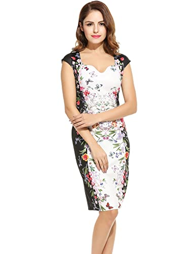 ANGVNS Women Vintage Styles V-Neck Cap Sleeve Prints Elastic Slim Tank Package Hip Dress