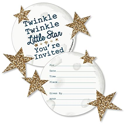 amazon com twinkle twinkle little star shaped fill in invitations