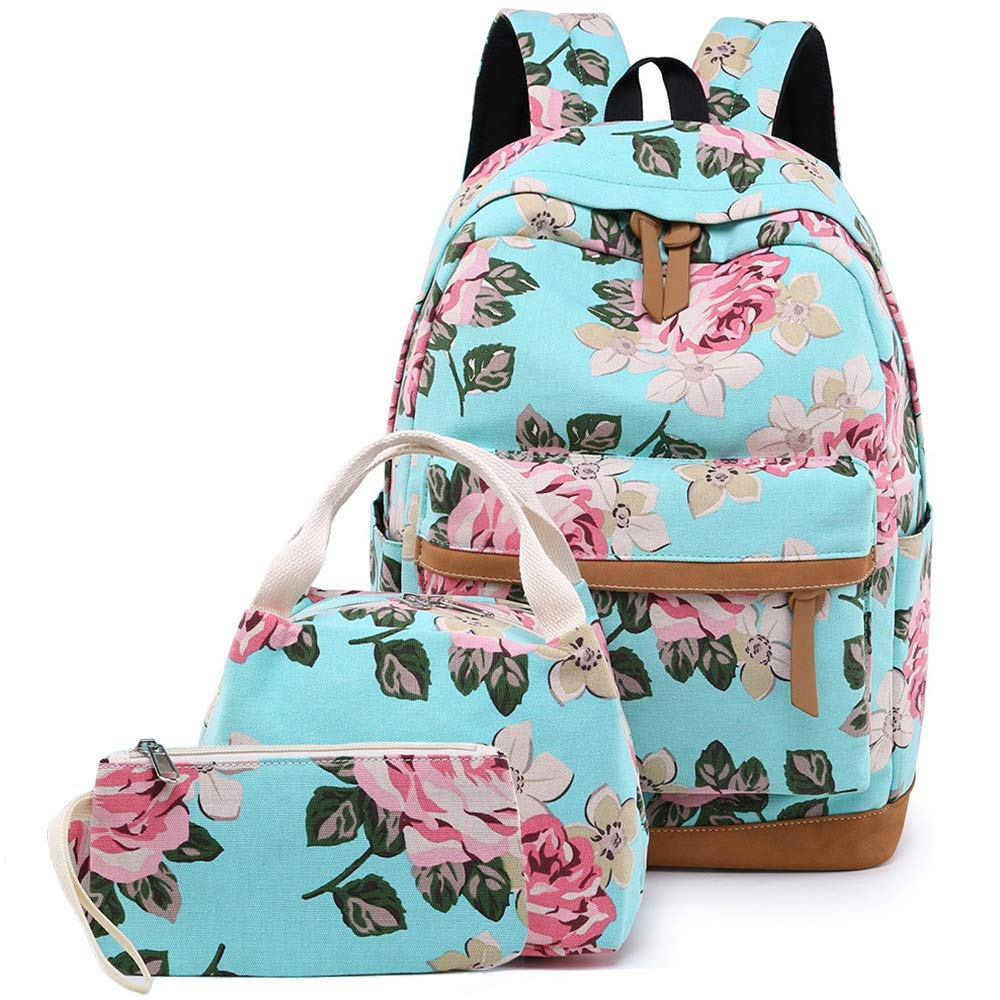 Teens School Backpack Set, Canvas Girls Bookbags 14'' Laptop Backpack, 3 in 1 with Lunch Tote Bag Clutch Purse (Water Blue with Floral)