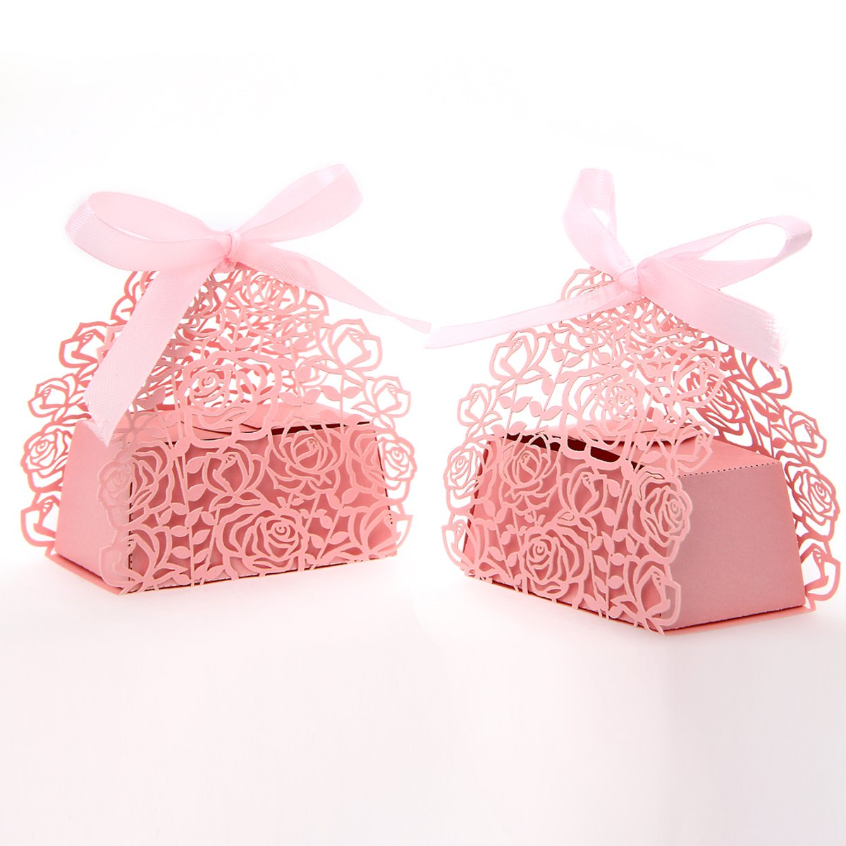 50 Pack Roses Flowers Laser Cut Favor Candy Box Bomboniere with ...