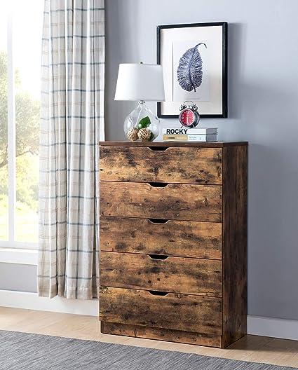 Smart home K16069 Contemporary 5 Drawer Chest Dresser, Distressed Wood  Color, Dresser for Bedroom