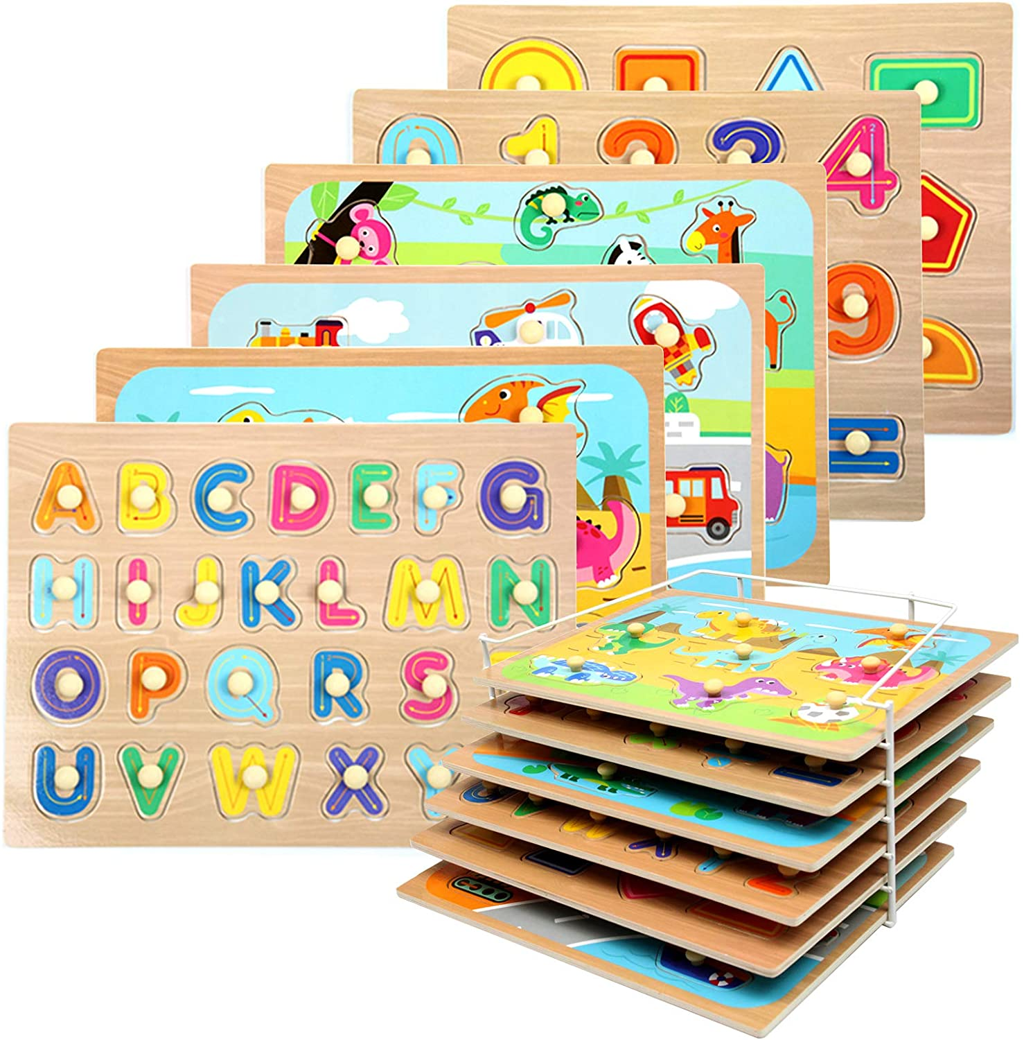 WOOD CITY Toddler Puzzles and Rack Set, Wooden Peg Puzzles Bundle with Storage Holder Rack, Educational Knob Puzzle for Kids Age 2 3 4 Years - Alphabet Number Shape Dinosaur Animal Vehicle: Toys & Games
