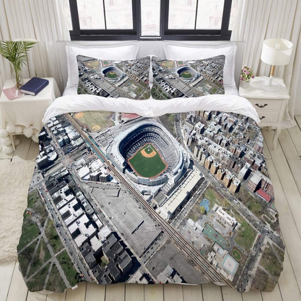 ZOMOY Duvet Cover Set, AerialYankeeStadiumNewYork, Decorative 3 Piece Bedding Set with 2 Pillow Shams