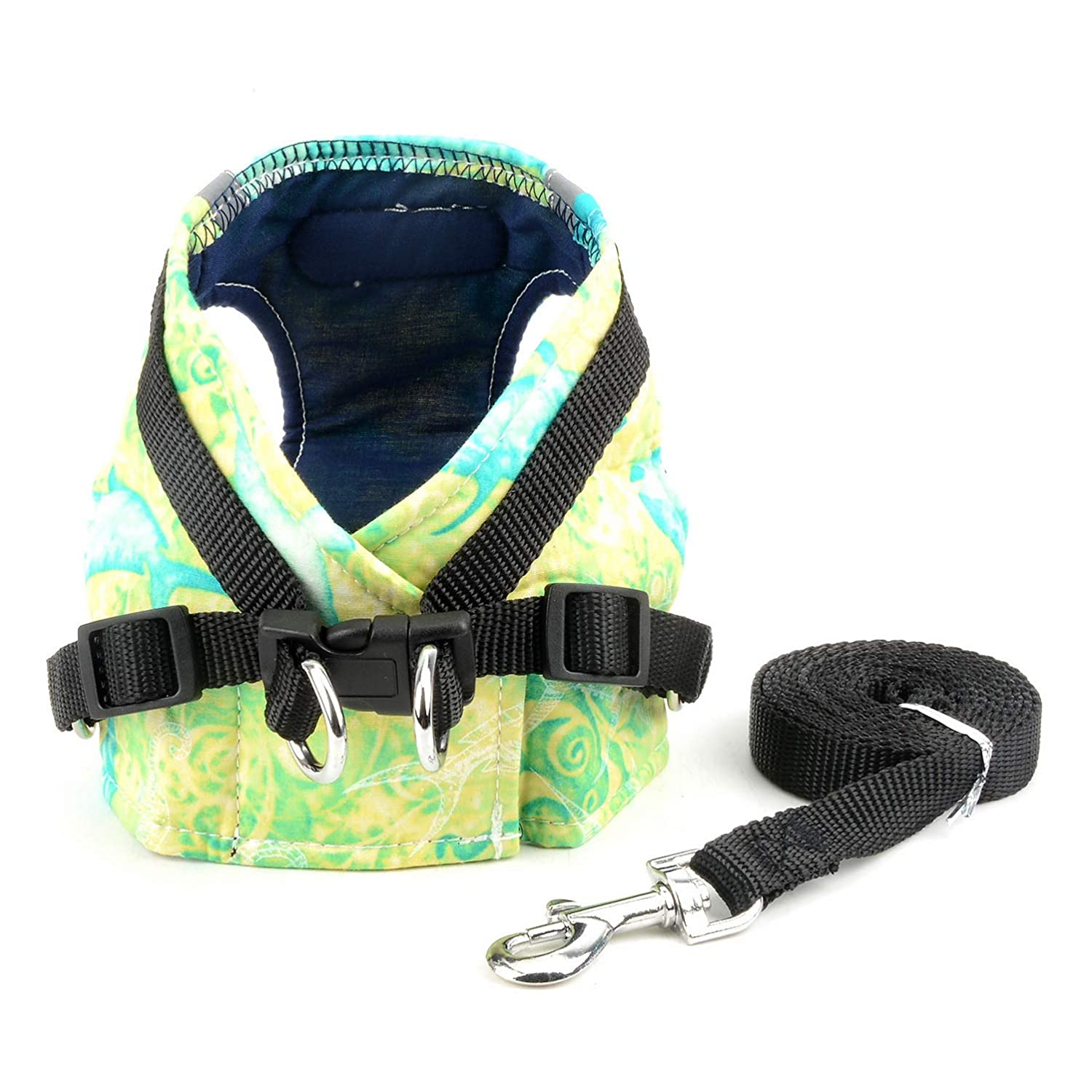 SELMAI Dog Harness for Small Dogs Reflective Print Soft Breathable No Pull Adjustable Leash Collar Set for Cat Escape Proof Easy on Padded Step in Vest Harness for Walking Puppy Playing Green S
