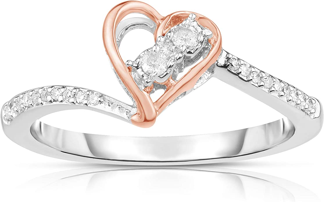 NATALIA DRAKE Sterling Silver 1//4 ctw Princess or Heart Halo Diamond Earrings or Diamond Pendant Ring Sz-7