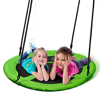 PACEARTH 40 Inch Saucer Tree Swing Flying 660lb Weight Capacity 2 Added Hanging Straps Adjustable Multi-Strand Ropes Colorful Safe and Durable Swing Seat for Children Adults - Green: Toys & Games