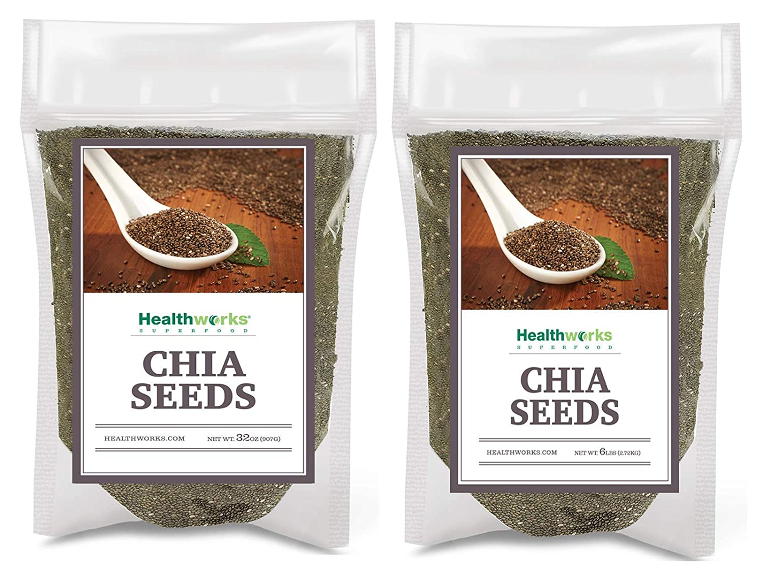 Healthworks Chia Seeds Raw (128 Ounces / 8 Pounds) | Premium & All-Natural | Contains Omega 3, Fiber & Protein | Great with Shakes, Smoothies & Oatmeal