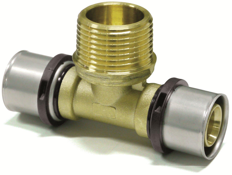 TH DVGW 3//4-20x2mm Pipetec Press-T-St/ück mit Au/ßengewinde 20x2mm