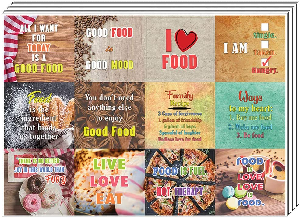 Creanoso Inspiring Food Lovers Stickers (10-Sheet) – Total 120 pcs (10 X 12pcs) Individual Small Size 2.1 x 2. Inches , Waterproof, Unique Personalized Themes Designs, Any Flat Surface DIY Decoration Art Decal for Boys & Girls, Children, Teens