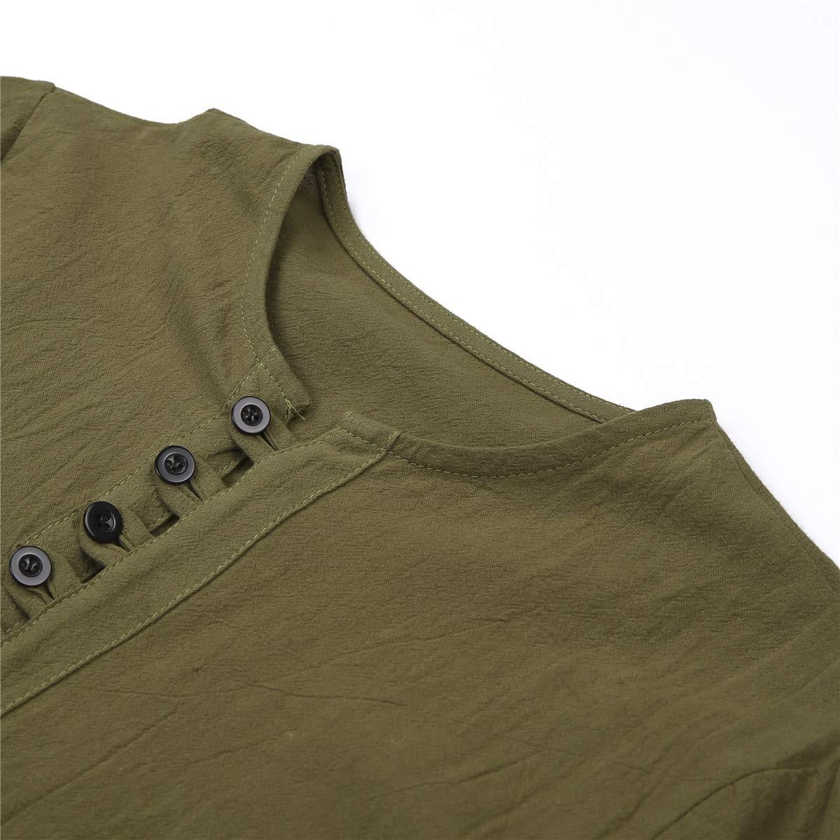 Mens Long Sleeve Shirt Button Up Beach Slim Fit Henleys Tops