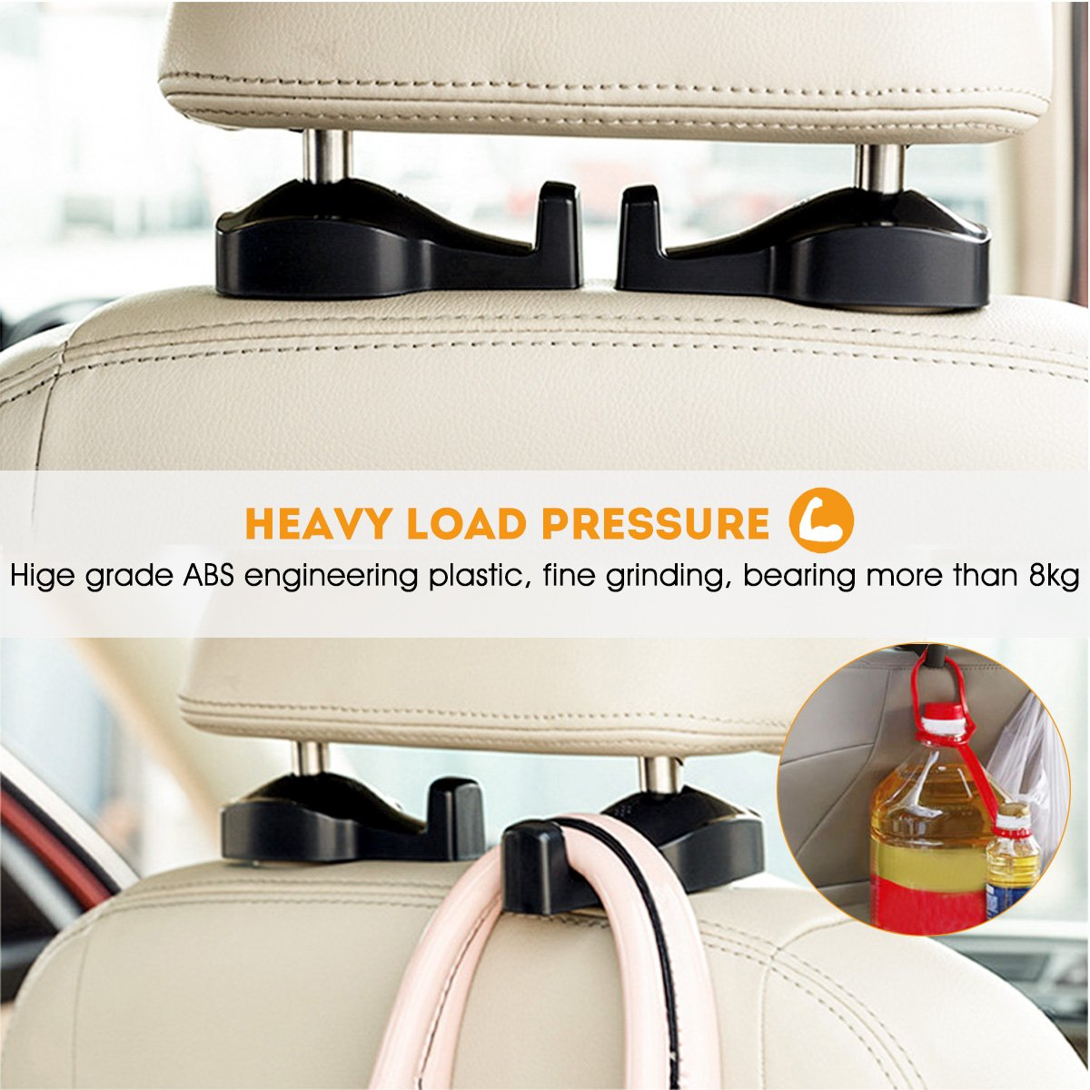 Purses Car Seat Hanger 6 Pack Space Saving Auto Back Seat Hidden Hooks Seat Headrest Hanger For Handbags and Grocery Bags Coats Universal Vehicle Car Seat Back Headrest Holder D-FLIFE INC 5559021200
