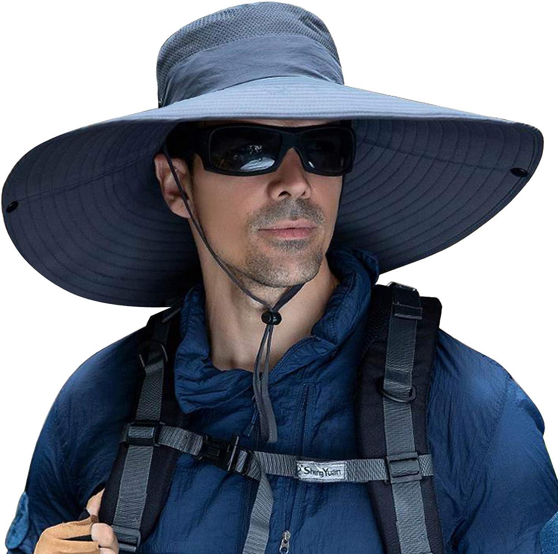 6 Inches Super Wide Brim Men Fishing Sun Hats, Outdoor Hiking Travel Women Bucket Cap Safari Boonie Gardening Lawn Hat