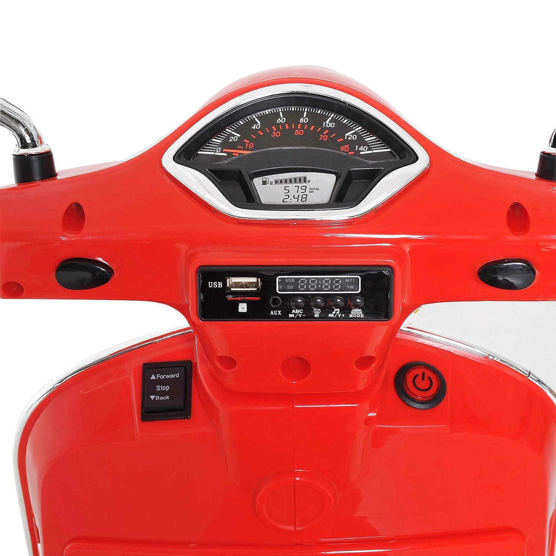 HOMCOM 6V Kids Ride On Licensed Vespa Motorcycle Boys Girls w// MP3 Player Music LED Toy Red