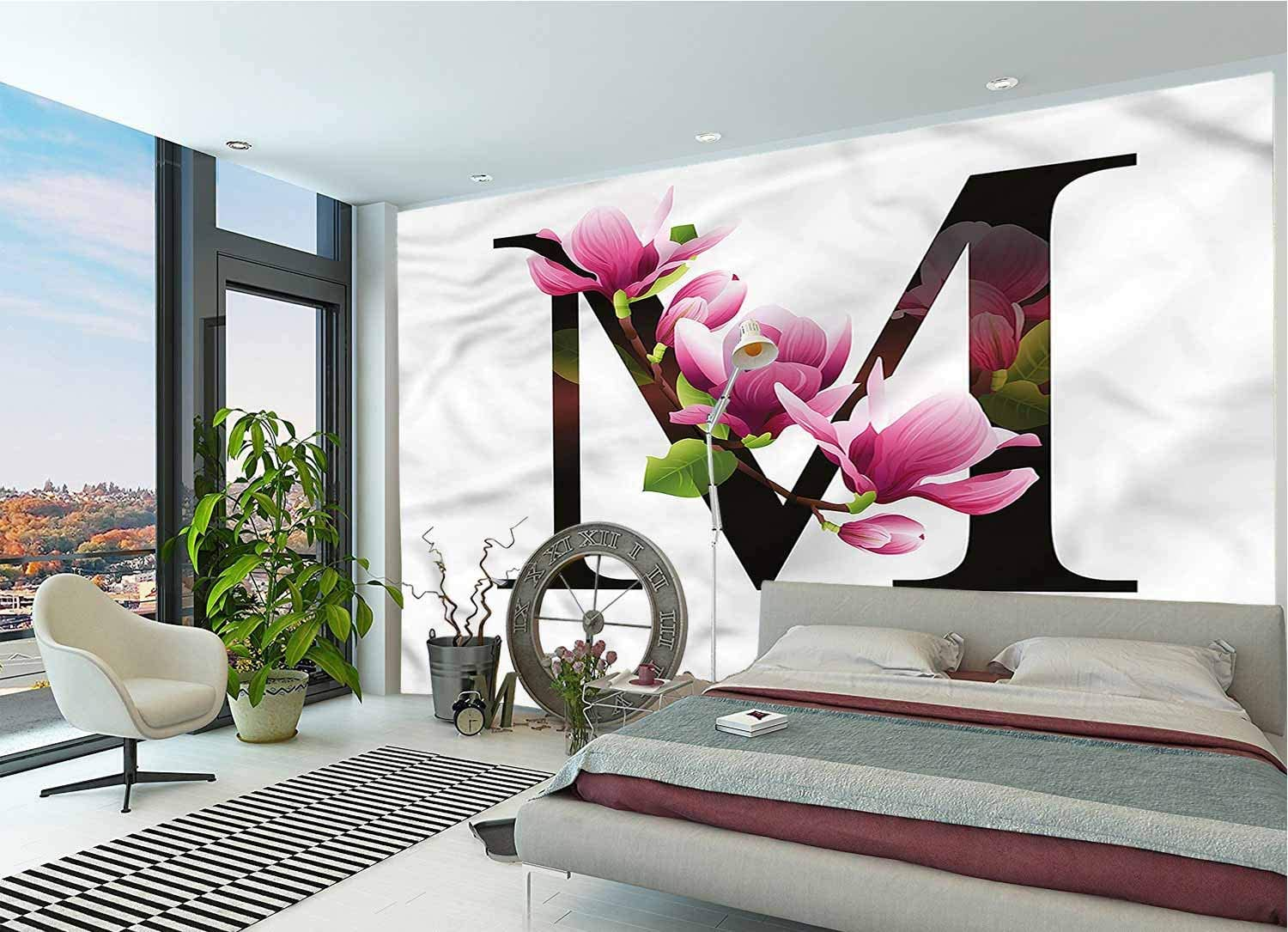 Amazon Com Letter M Wall Mural Decal M With Magnolia Floral Peel And Stick Self Adhesive Wallpaper For Livingroom Bedroom Nursery School Family Wall Decals 78x55 Inch Home Kitchen