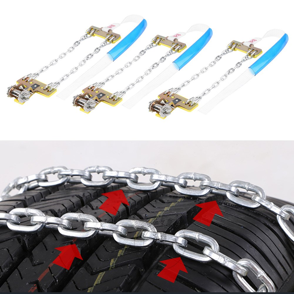 Acouto 3PCS Steel Tire Chain Security Anti-Slip Snow Chain Belt For Car Car Truck SUV(Large)