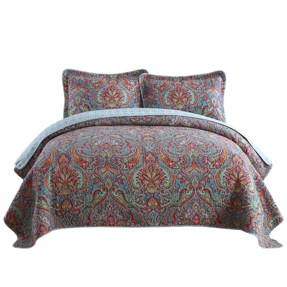 NEWLAKE Cotton Bedspread Quilt Sets-Reversible Patchwork Coverlet Set, European Gorgeous Floral Pattern, Queen Size NL-FUYUNZHANFANG-Queen