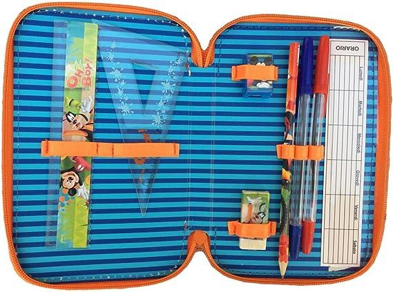 MIC0471 20X13X6 Astuccio Scuola Topolino Mickey Mouse Disney 3 Zip//Cerniere Porta Colori Carioca CM