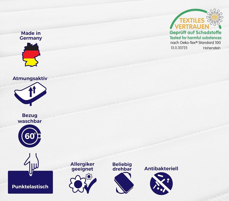 Mister Sandman 7 Zonen Kaltschaummatratze, Härtegrad H2&H3, 2in1 Liegehärten, Rollmatratze (100 x 200 cm, H2&h3)