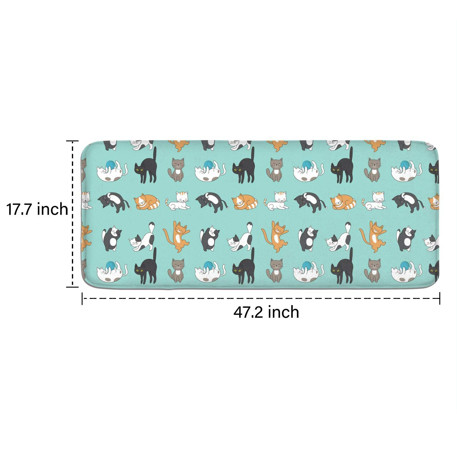 JWOJJUAW 17.7x47.2 A Group of Cats Anti Fatigue PVC Large Standing Rug Floor Foam Non-Slip Kitchen Mats Cushioned Durable Decorative Doormat